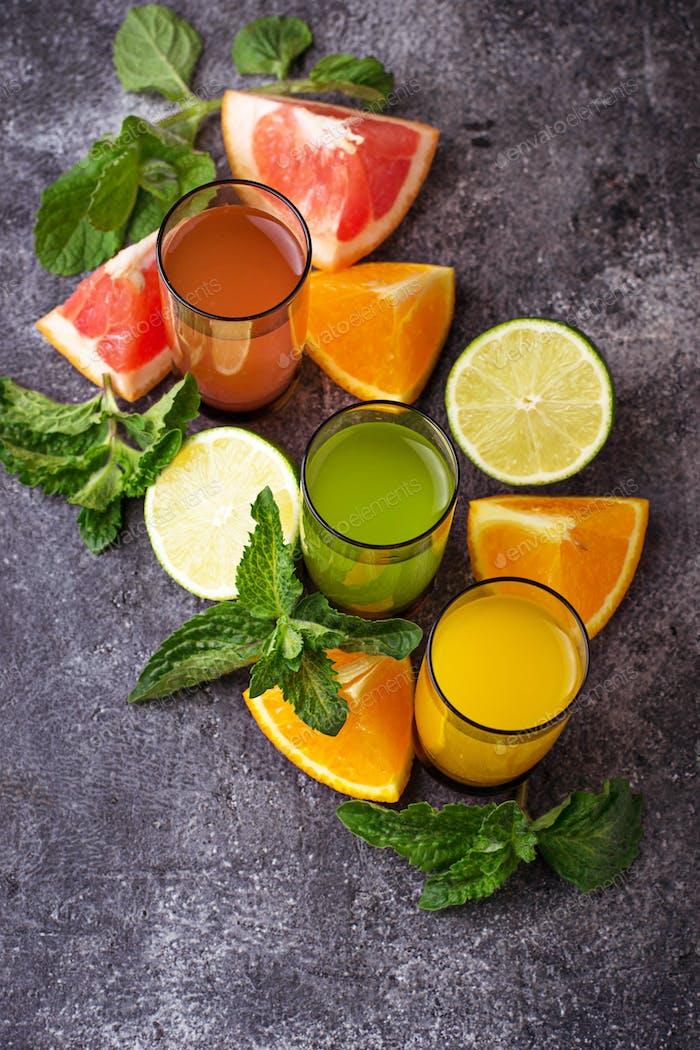 Fresh citrus juices. Detox drinks