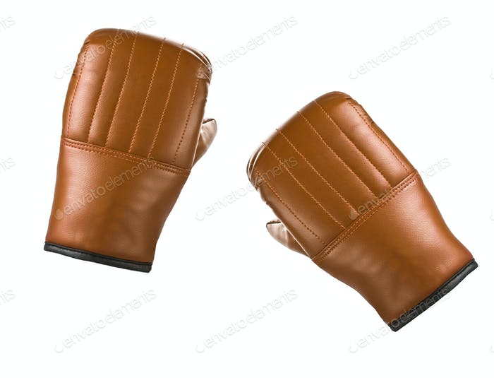 Pair of yellow leather boxing gloves