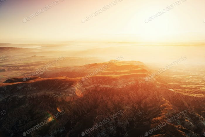 Fantastic sunrise over the Red Valley in Cappadocia, Anatolia, T