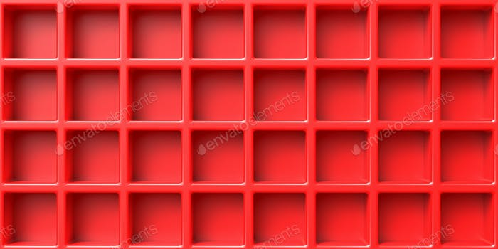 Red open empty boxes abstract background. Book self, showcase template. 3d illustration