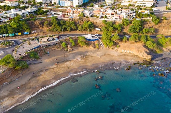 Aerial view of Kebra Kanela - Quebra Canela beach in Praia  - Santiago, Cape Verde