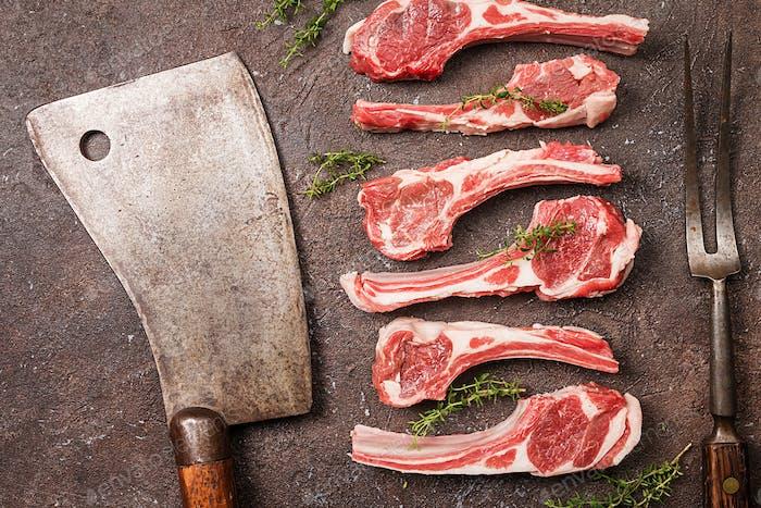 Raw lamb chops