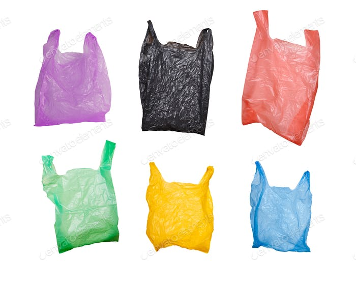set of plastic bags isolated on white background
