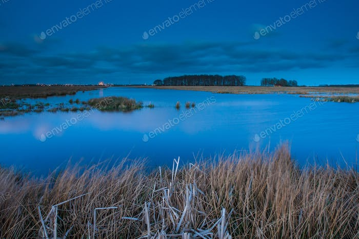 View of lake at blue hour
