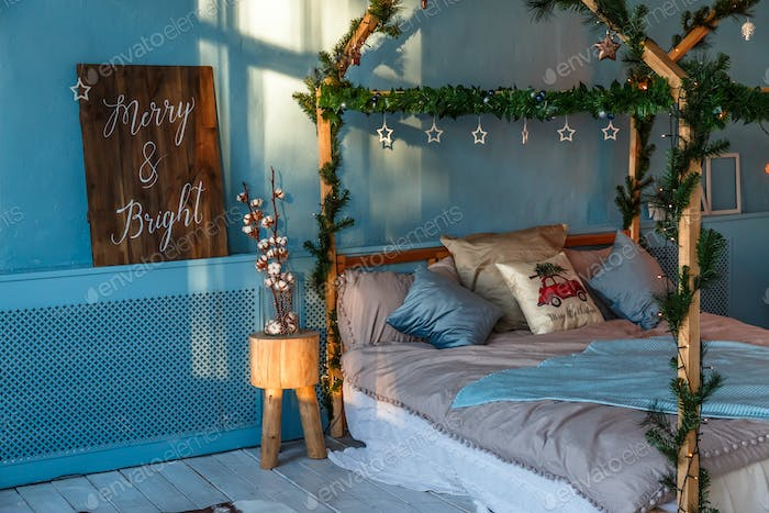 Loft with Christmas decoration and the bed