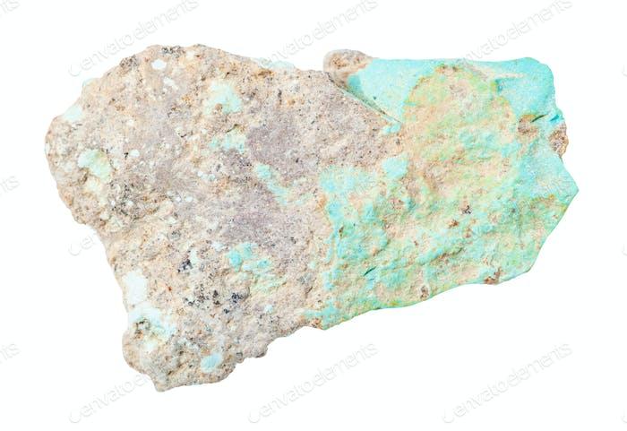 ungeschliffen Türkis Felsen isoliert auf weiß