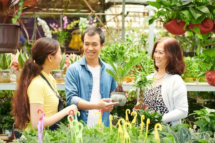 Un grupo de personas en un invernadero
