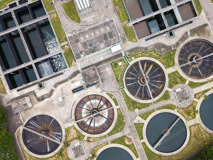 Top view of Sewage treatment plant