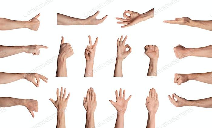 Sammlung von männlichen Händen Gesten verschiedene Zeichen auf weißem Hintergrund, isoliert. Collage