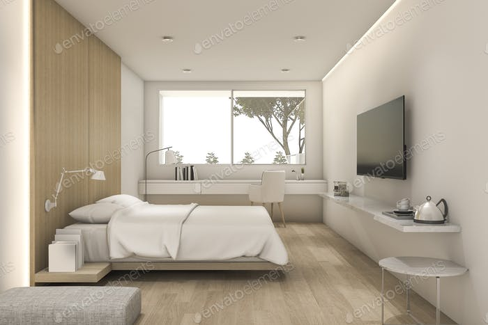 3d rendering nice minimal bedroom with tv and pouf