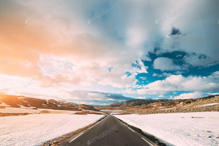 Aurlandsfjellet, Norway. Open Road Aurlandsfjellet. Scenic Route Road In Summer Norwegian Landscape