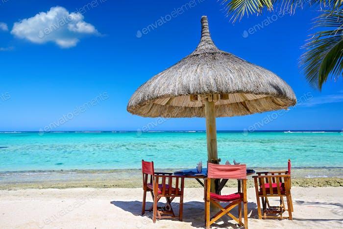 Breakfast on tropical beach