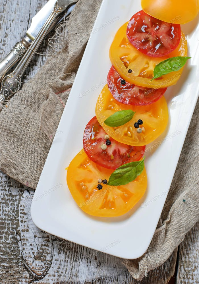 Salad with different sliced tomato