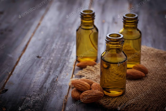 Almond oil in small bottles