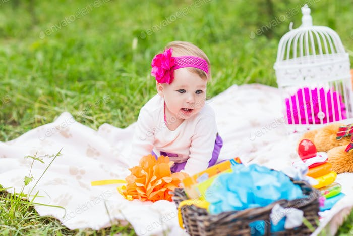 Thumbnail for Adorable baby girl smile picnic playful weekend nature