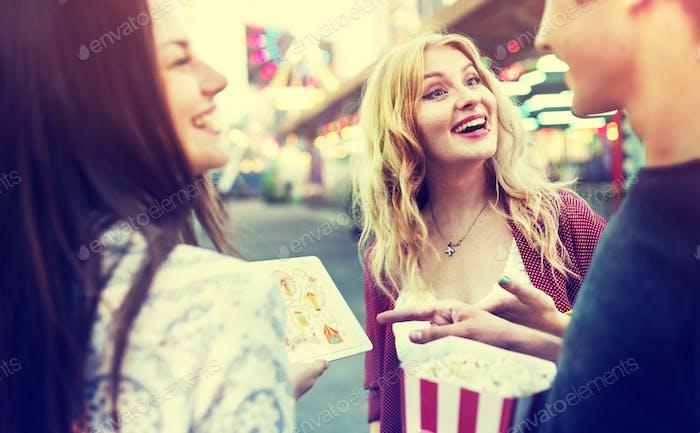Friends Hangout Carnival Popcorn Fun Smiling Concept