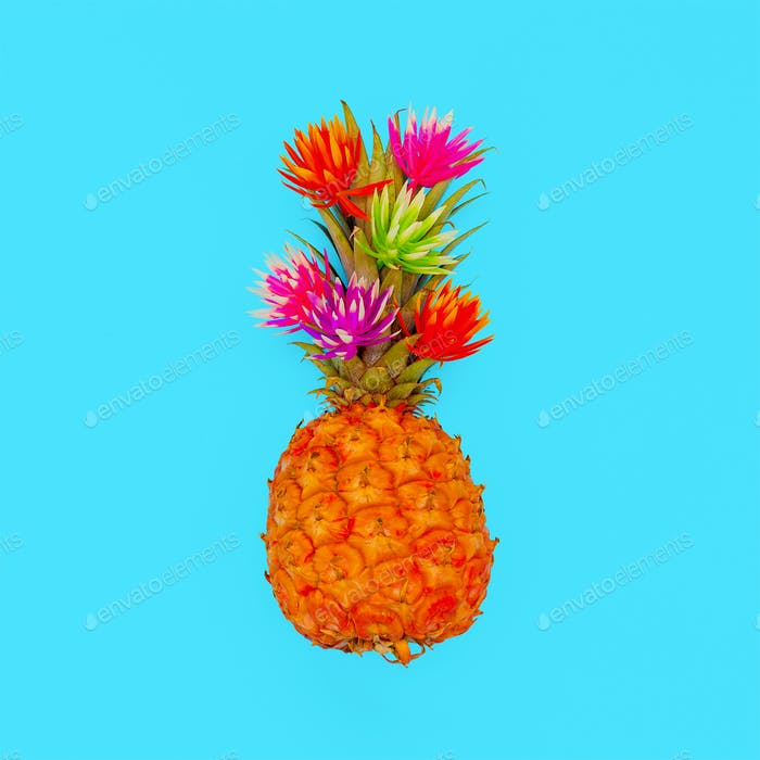Tropical mood. Minimal style Pineapple fashion art