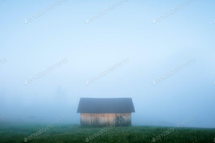 Alone house on foggy meadow