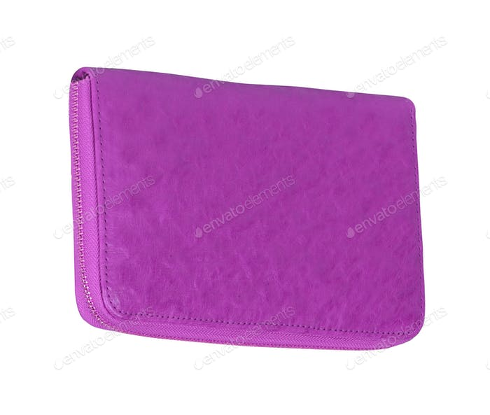 Manicure set closed purple case isolated