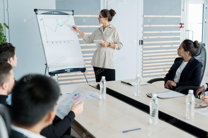 Sales coach holding presentation