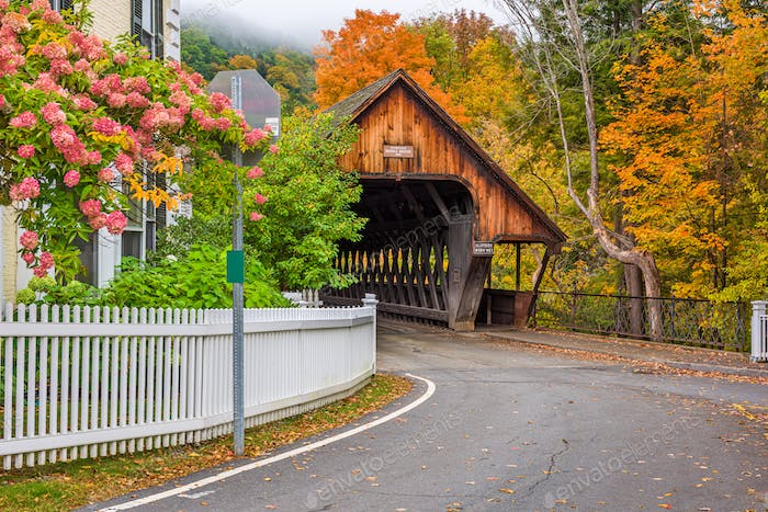 Woodstock, Vermont with Middle Covered Bridge
