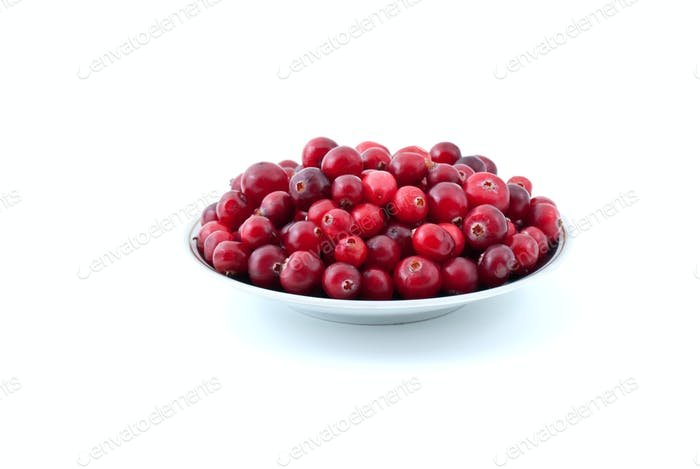 Thumbnail for Saucer filled with ripe cranberries