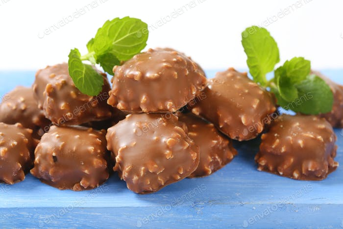 Chocolate-covered marzipan squares