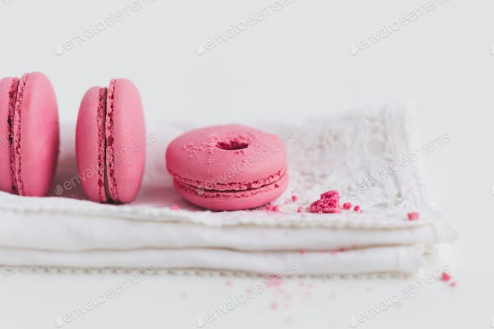Strawberry Macaron on White Napkin
