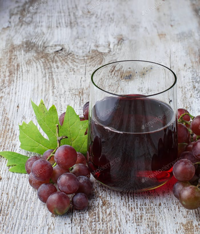 Glass of fresh grape juice