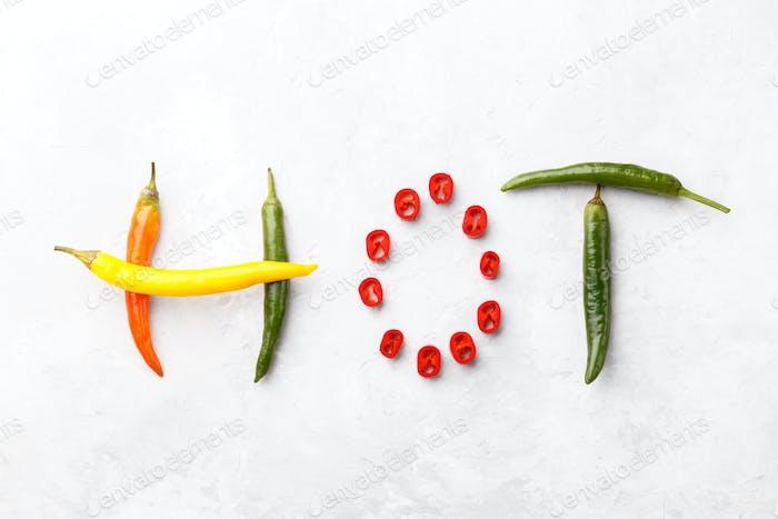 Bunte Chili Papiere Wort Heiß