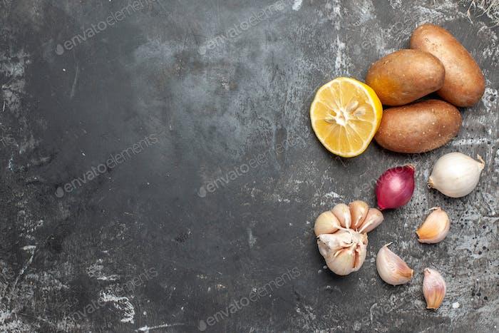 Food diversity on dark background