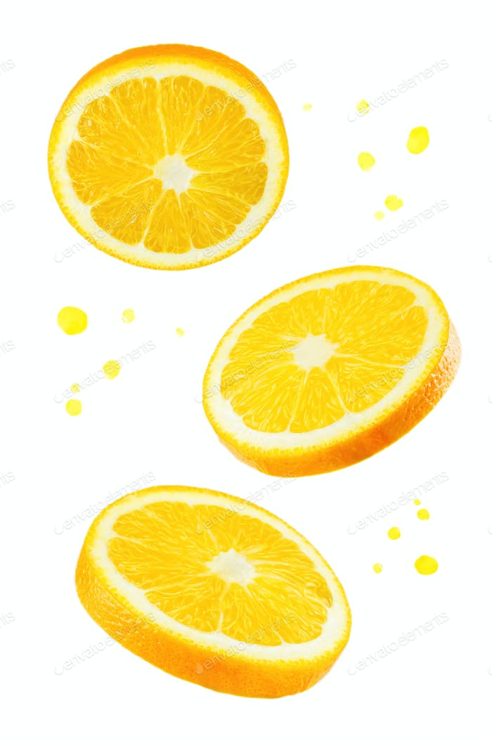 Flying Oranges with juice's spray