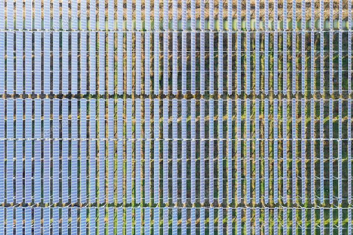 aerial view of photovoltaic power station, arrays of solar panels, renewable energy landscape