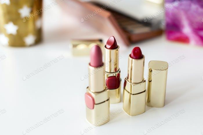 Closeup of lipsticks