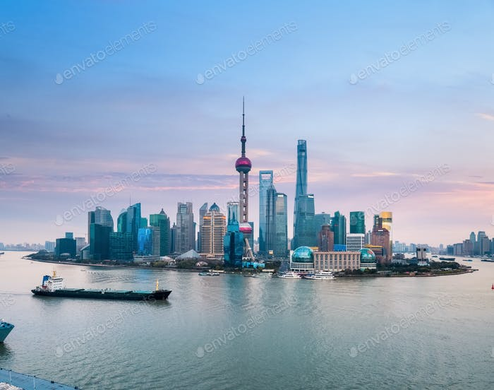 shanghai skyline with sunset glow