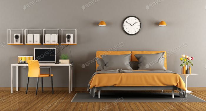 Modern bedroom with bed and desk - 3d rendering