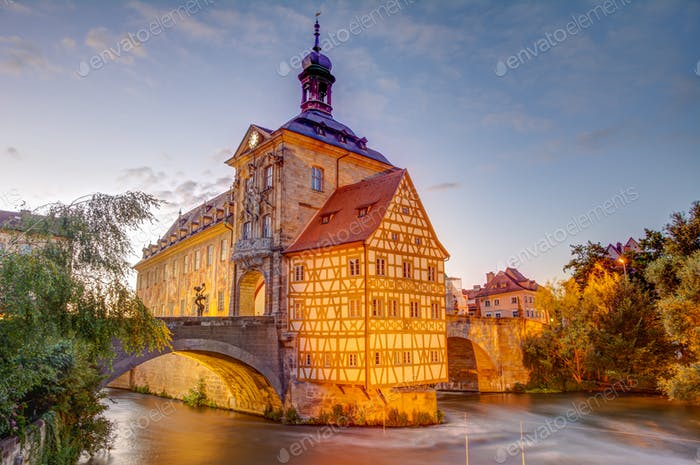 Illuminated historic town hall of Bamberg