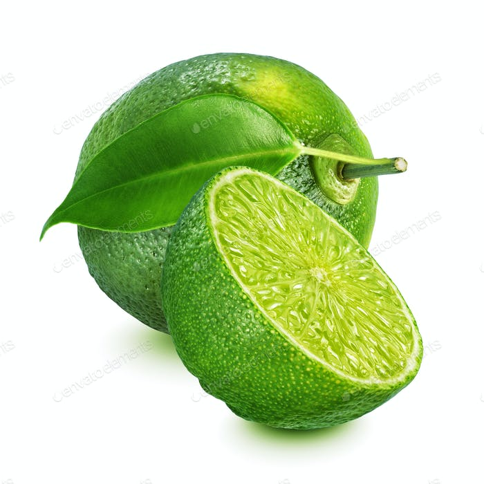 Whole and halved lime isolated on white