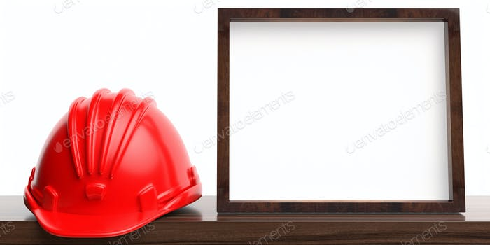 Hard hat and blank white photo frame on wooden shelf, white wall background. 3d illustration