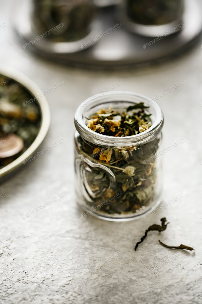 Herbal tea in small jar