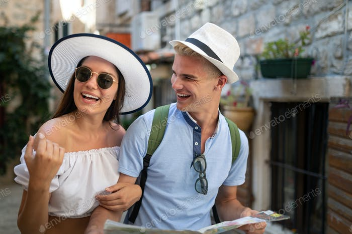 Happy lovely couple enjoying traveling and vacation