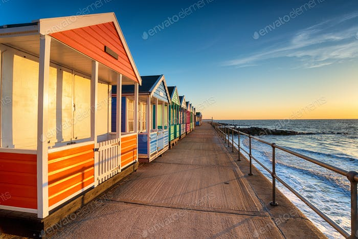 A row of pretty beach huts at Southwold