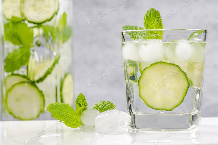 Healthy and diet cucumber and mint refreshing beverage