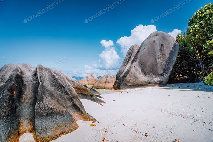 Anse Source d'Argent -amazing tropical beach with huge granite boulders on La Digue Island