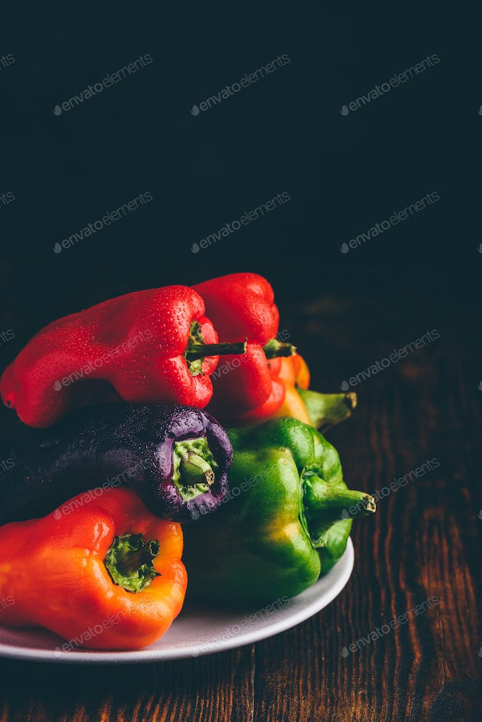 Fresh bell peppers on plate