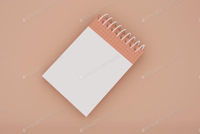 3D Illustration. Spiral blinder notebook mockup.