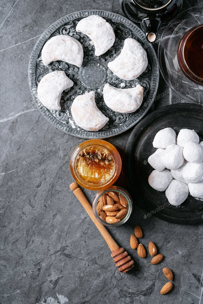 Variety of traditional Greek sweets cookies