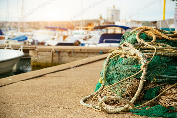 Fishing net on the harbor