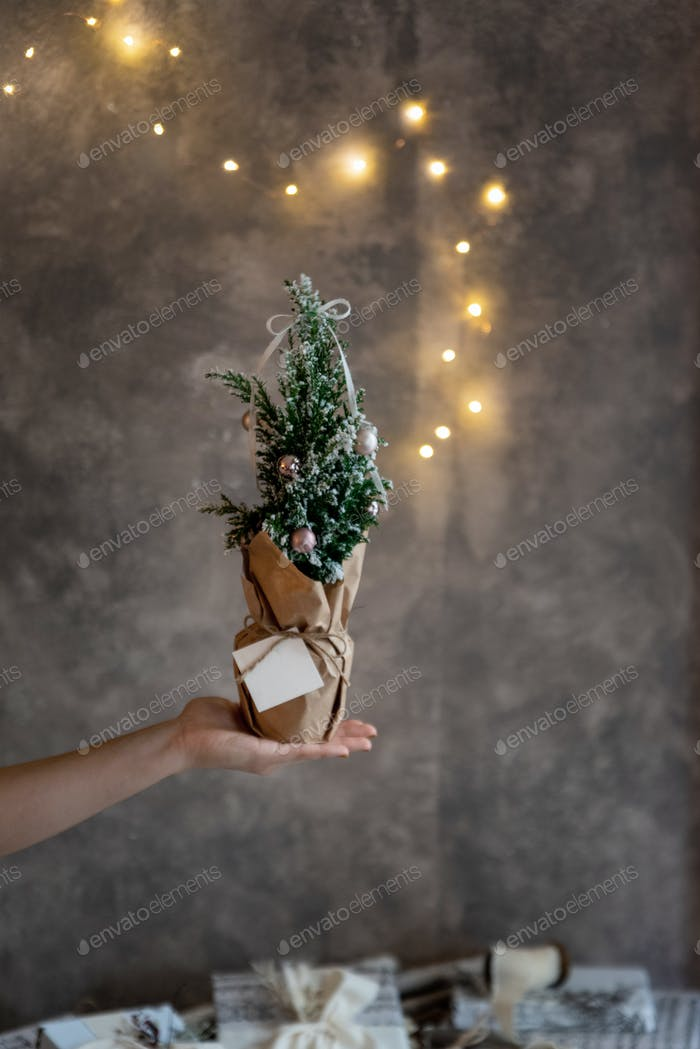 Womans hand holding small decorated christmas tree