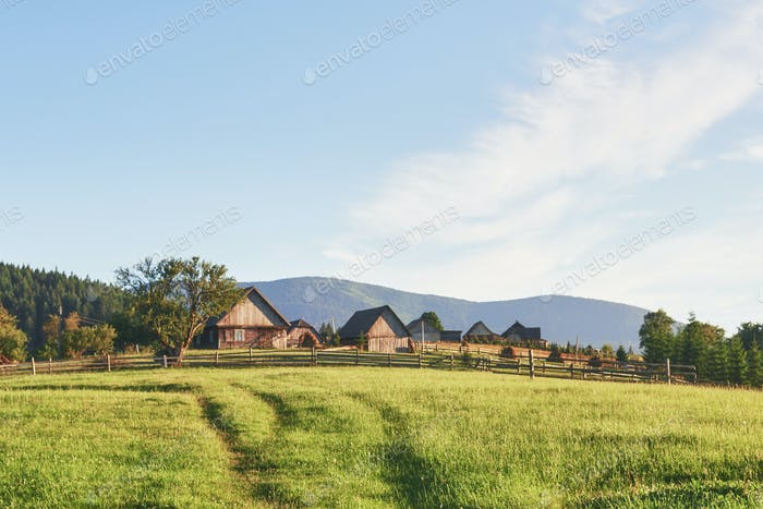 Village houses on hills with green meadows in summer day. House of shepherds in mountains in